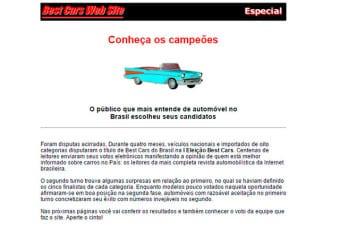 Página de resultados da I Eleição dos Melhores Carros, que agora abre sua 19a. edição