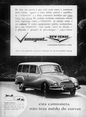 Anúncio da DKW Vemaguet: carroça é puxada, não empurrada